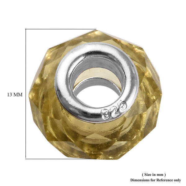 Charmes De Memoire Light Yellow Murano Style Glass Charm in Platinum Overlay Sterling Silver