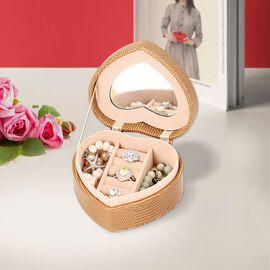Grace Collection - Lizard Skin Pattern Heart Shaped  Anti-Tarnish Jewellery Box with Inside Mirror,