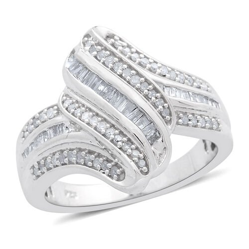 Designer Inspired - Diamond (Bgt) Ring in Platinum Overlay Sterling Silver 0.500 Ct..