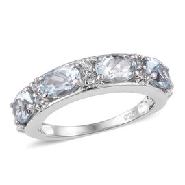 1.75 Ct Espirito Santo Aquamarine and Zircon Band Ring in Platinum Plated Silver