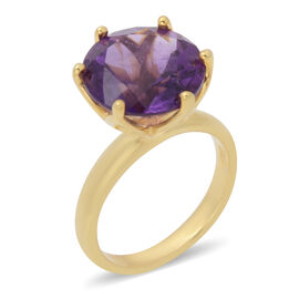 5.65 Ct Zambian Amethyst Solitaire Ring in Rhodium Plated Sterling Silver