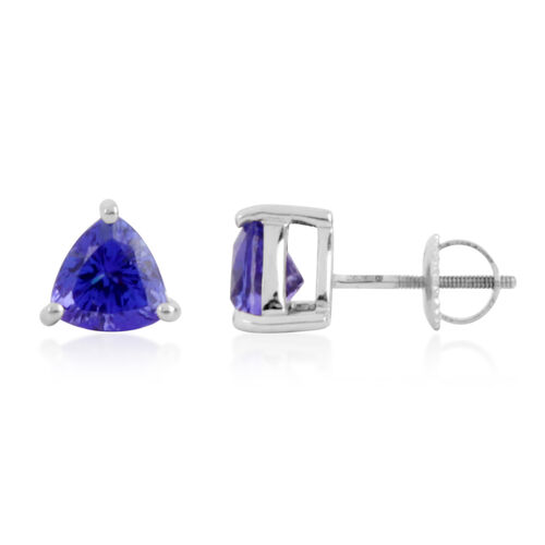 Limited Available - RHAPSODY 950 Platinum AAAA Tanzanite (Trl) Stud Earrings (with Screw Back) 2.500 Ct.