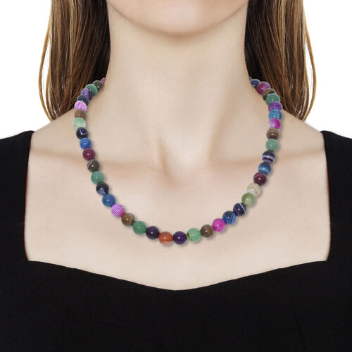 One Time Deal - Multi Onyx Necklace (Size 20) with Lobster Lock in Platinum Overlay Sterling Silver 280.000 Ct.