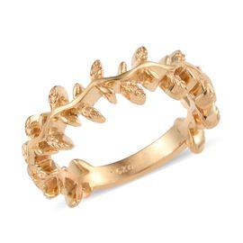 14K Gold Overlay Sterling Silver Oak Leaf Ring, Silver wt 3.06 Gms