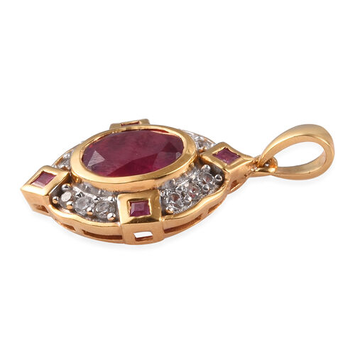 African Ruby and Natural Cambodian Zircon Pendant in 14K Gold Overlay Sterling Silver 3.25 Ct.