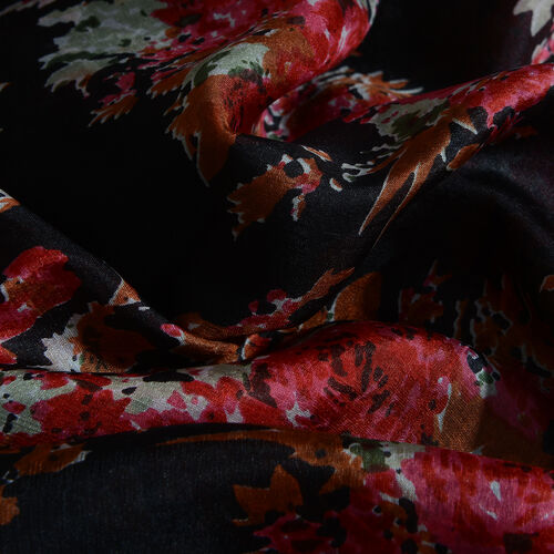 100% Mulberry Silk Black, Red and Multi Colour Handscreen Flower Pattern Scarf (Size 180x90 Cm)