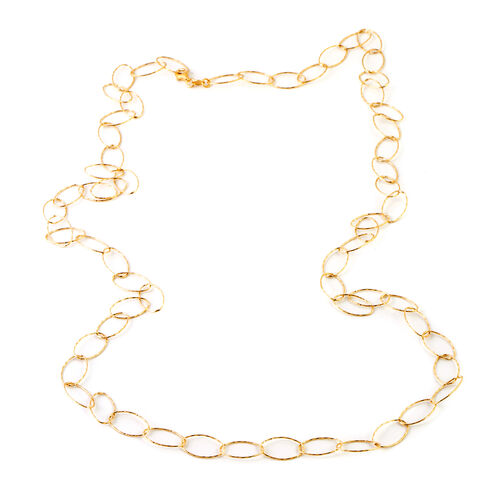 Made In Italy- Designer Inspired-  Gold Overlay Sterling Silver Giotto Oval Necklace(Size 36), Silver wt 8.21 Gms