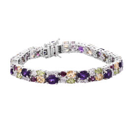 GP Amethyst (Ovl 7x5 mm), Citrine and Multi Gemstone Bracelet (Size 8) in Platinum Overlay Sterling