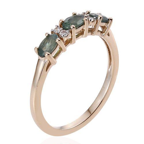 9K Y Gold Narsipatnam Alexandrite (Ovl), Natural Cambodian Zircon Ring 1.000 Ct.