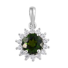 Russian Diopside (0.95 Ct),Cambodian Zircon 9K W Gold Pendant  1.250  Ct.