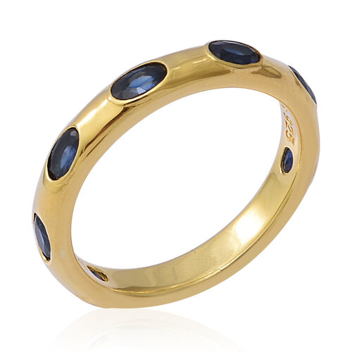 Designer Inspired- Kanchanaburi Blue Sapphire Band Ring in Yellow Gold Overlay Sterling Silver 2.03 Ct.