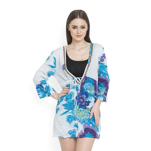100% Cotton Turquoise and Multi Colour Flowers Embroidered White Colour Beach Cover up and Poncho (S