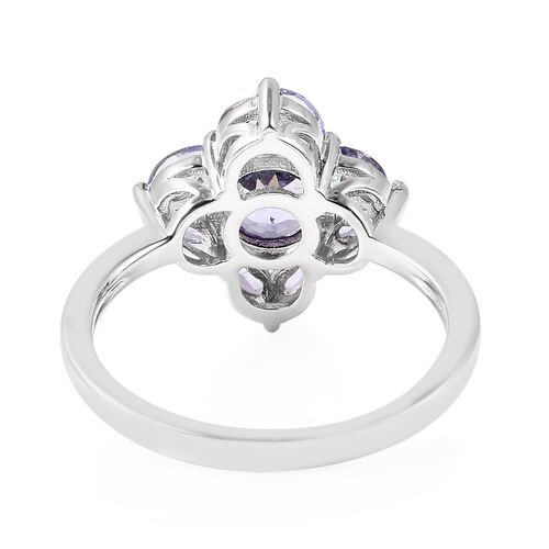 Isabella Liu Floral Collection - Tanzanite Floral Ring in Rhodium Overlay Sterling Silver 1.22 Ct.