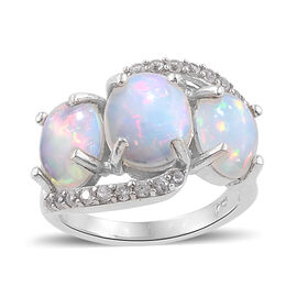 4.25 Ct Ethiopian Welo Opal and Zircon Trilogy Ring in Platinum Plated Sterling Silver