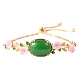 13.63 Ct Green Jade and Multi Gemstones Bolo Bracelet in Gold Plated Silver