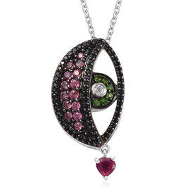 GP- Boi Ploi Black Spinel (Rnd), Russian Diopside and Multi Gemstone Eye Pendant with Chain (Size 20