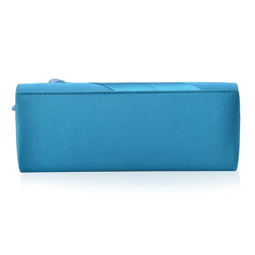 Turquoise Satin Clutch with White Austrian Crystal and Removable Chain Strap (Size 24x9 Cm)