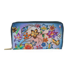 SUKRITI PREMIER Super Soft Genuine Leather Handprint RFID Protected Flower and Butterfly Wallet (Siz