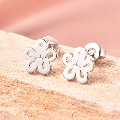LucyQ Rhodium Overlay Sterling Silver Flower Stud Earrings (with Push Back)