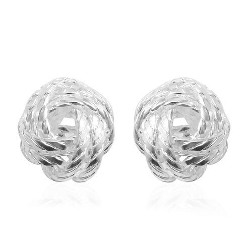 Designer Inspired- Platinum Overlay Sterling Silver Knot Earrings, Silver wt 4.10 Gms