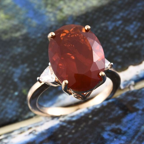 ILIANA 18K Y Gold AAAA Jalisco Fire Opal (Ovl 6.10 Ct), Diamond (SI/G-H) Ring 6.350 Ct.