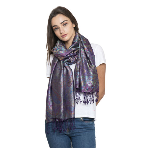 SILK MARK - 100% Superfine Silk Purple and Multi Colour Jacquard Scarf with Fringes (Size 180x70 Cm)