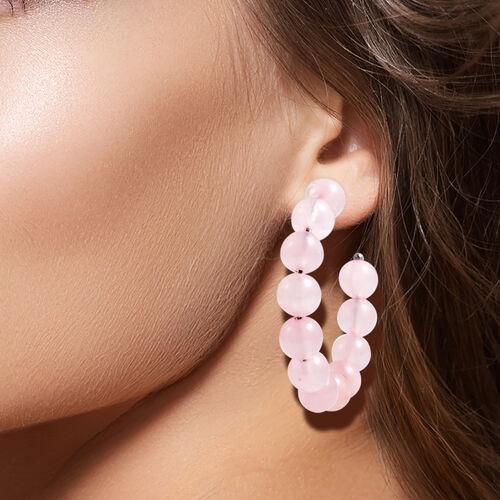 Rose Quartz Beaded Hoop Earrings (with Push Back) in Stainless Steel 75.00 Ct.