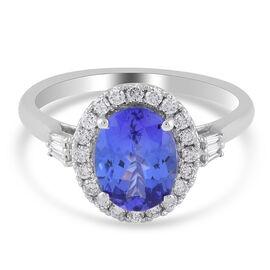 RHAPSODY 950 Platinum AAAA Tanzanite ( 2.00 Cts) and Diamond (VS E-F ) Ring 2.36 Ct.