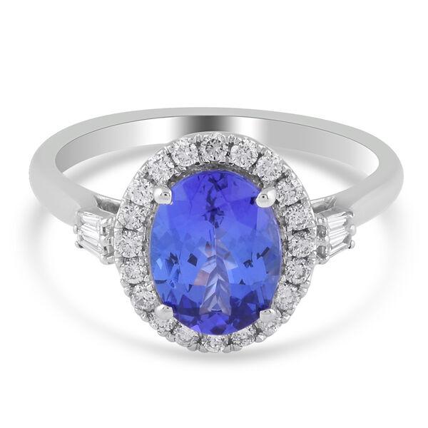 RHAPSODY 950 Platinum AAAA Tanzanite ( 2.00 Cts) and Diamond (VS E-F ) Ring 2.36 Ct. Platinum wt 5.0