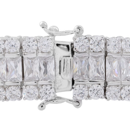 ELANZA Simulated White Diamond (Oct) Bracelet (Size 6.75) in Rhodium Plated Sterling Silver Wt. 33.89 Gms Number of Simulated White Diamonds 180