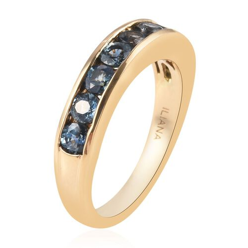 ILIANA 18K Yellow Gold AAA Montana Sapphire Eternity Ring 1.50 Ct.