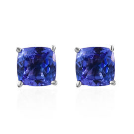 9K White Gold 1.60 Carat AA Tanzanite Cushion Solitaire Stud Earrings with Push Back.