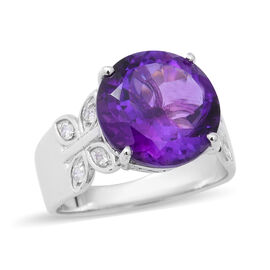 8.61 Ct African Amethyst and White Zircon Solitaire Ring in Sterling Silver 5.90 Grams