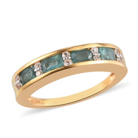 Grandidierite and Natural Cambodian Zircon Band Ring in 14K Gold Overlay Sterling Silver 1.00 Ct.
