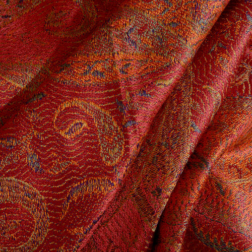SILK MARK - 100% Superfine Silk Burnt Ochre, Orange and Multi Colour Floral and Paisley Pattern Jacquard Jamawar Scarf with Tassels (Size 180x70 Cm) (Weight 125 - 140 Gms)