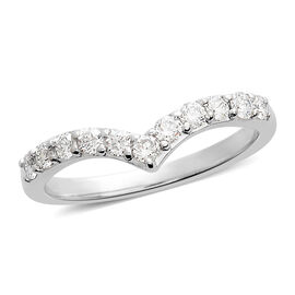 RHAPSODY 950 Platinum IGI Certified Diamond (Rnd) (VS/E-F) Wishbone Ring 0.500 Ct.