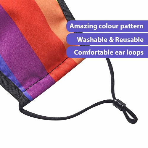 Reusable and Washable 2 Ply Face Cover with Straw Opening - Multi