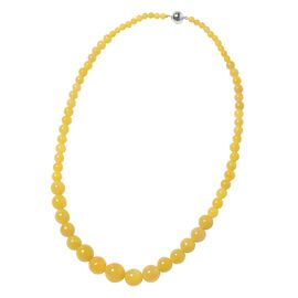 Honey Jade (Rnd 4-15 mm) Graduated Necklace (Size 20) in Rhodium Overlay Sterling Silver  with Magne