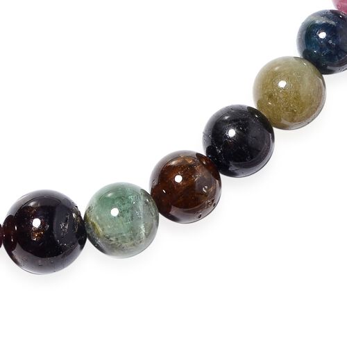 Tucson Special - Rainbow Tourmaline (Rnd 4-13 mm) Graduated Necklace (Size 18-22) with Magnetic Lock in Sterling Silver 260.00 Ct.