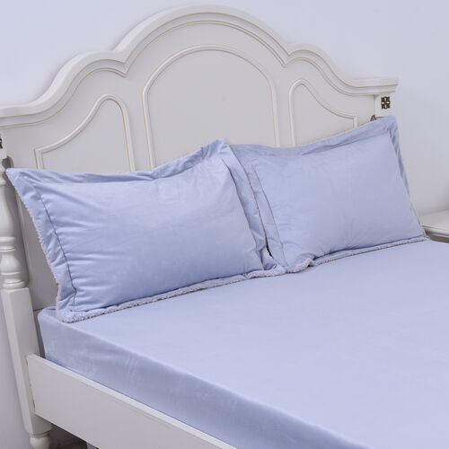 Serenity Night - 4 Piece Sherpa Comforter Set Light Blue Comforter (220x225cm), Fitted Sheet (140x190+30cm) and Pillow Covers (2 Pcs - 50x70+5cm) - DOUBLE