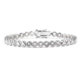 One Time Deal- Simulated Diamond (Rnd) Bracelet (Size 8) in Silver Plated