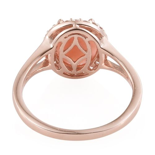 Peruvian Pink Opal (Ovl 2.80 Ct), Natural Cambodian Zircon Ring in Sterling Silver 3.250 Ct.