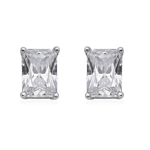 ELANZA Swiss Star Simulated Diamond Solitaire Earrings (with Push Back) in Rhodium Overlay Sterling
