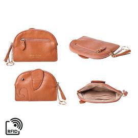 SENCILLEZ 100% Genuine Leather RFID Wallet (14x11cm) with Tassel - Tan