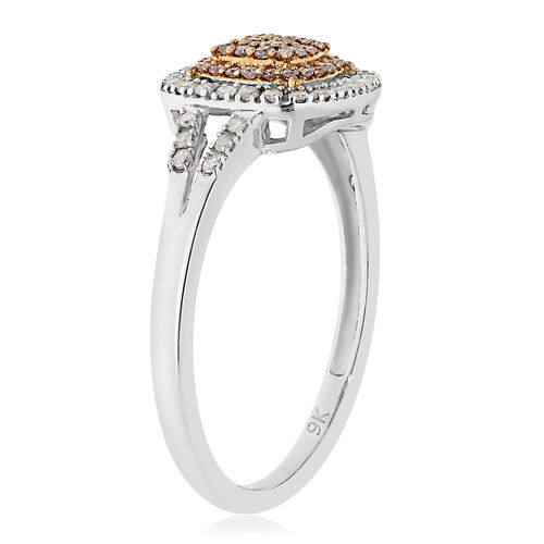 9K Yellow and White Gold Natural Pink Diamond and White Diamond (I3) Ring 0.34 Ct.