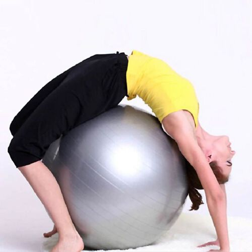 Exercise Yoga Balance Ball - Grey -  puncture proof with foot pump
