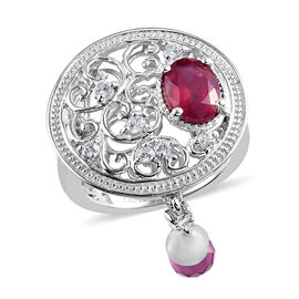 GP 3.75 Ct African Ruby and Multi Gemstone Filigree Filled Ring in Platinum Plated Silver