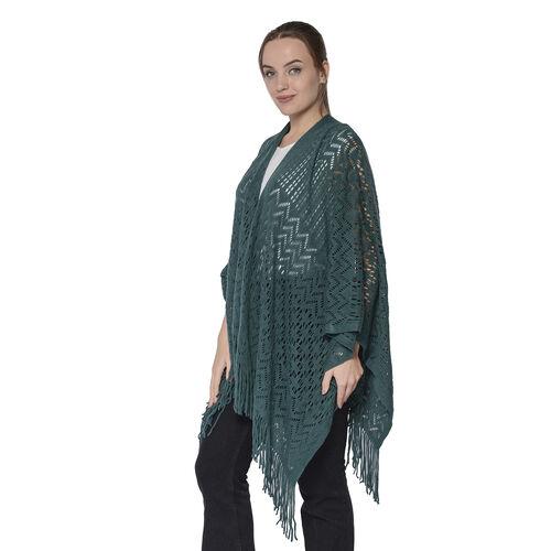 Hollow Out Knit Kimono with Tassels (60x125+10cm) - Green