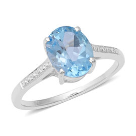 Sky Blue Topaz (Ovl 10x8 mm) Solitaire Ring in Sterling Silver 3.200  Ct.