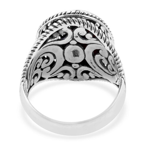 Royal Bali Collection Coral Filigree Ring in Sterling Silver 4.000 Ct. Silver wt 7.00 Gms.